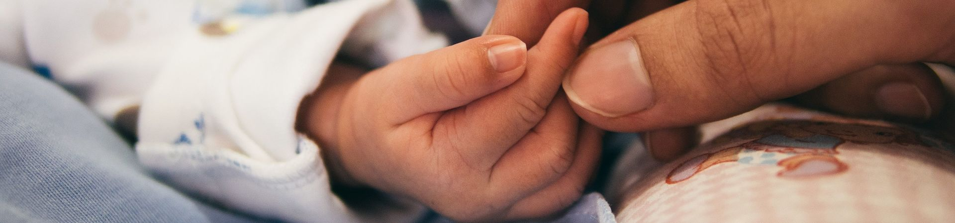 Hand of a newborn held by adult hand