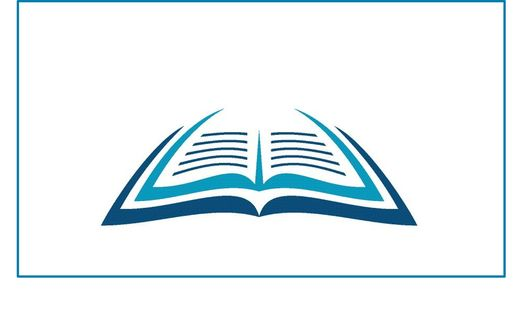 Art design showing an open book made of blue lines